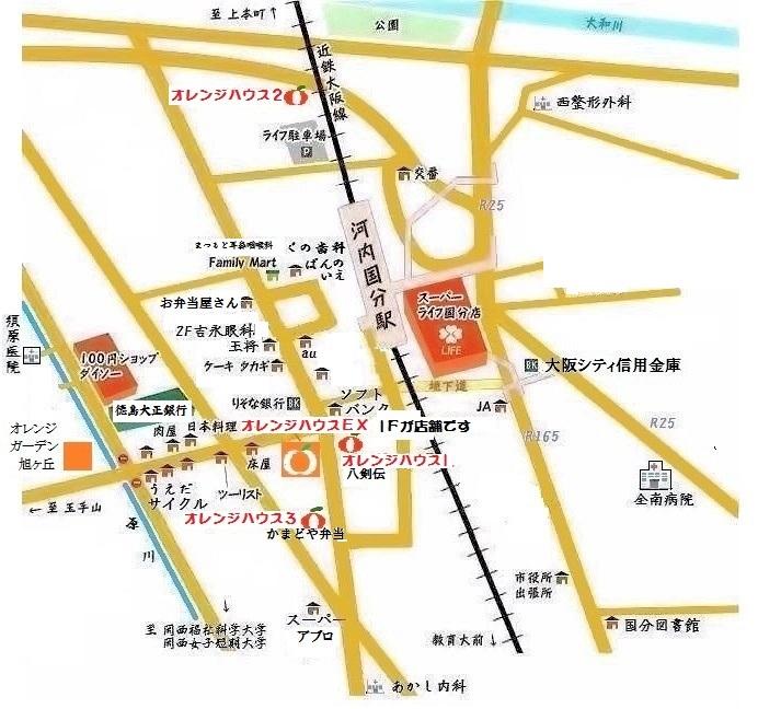 〒582-0025 大阪府柏原市国分西2-2-1 オレンジハウス ハタモト